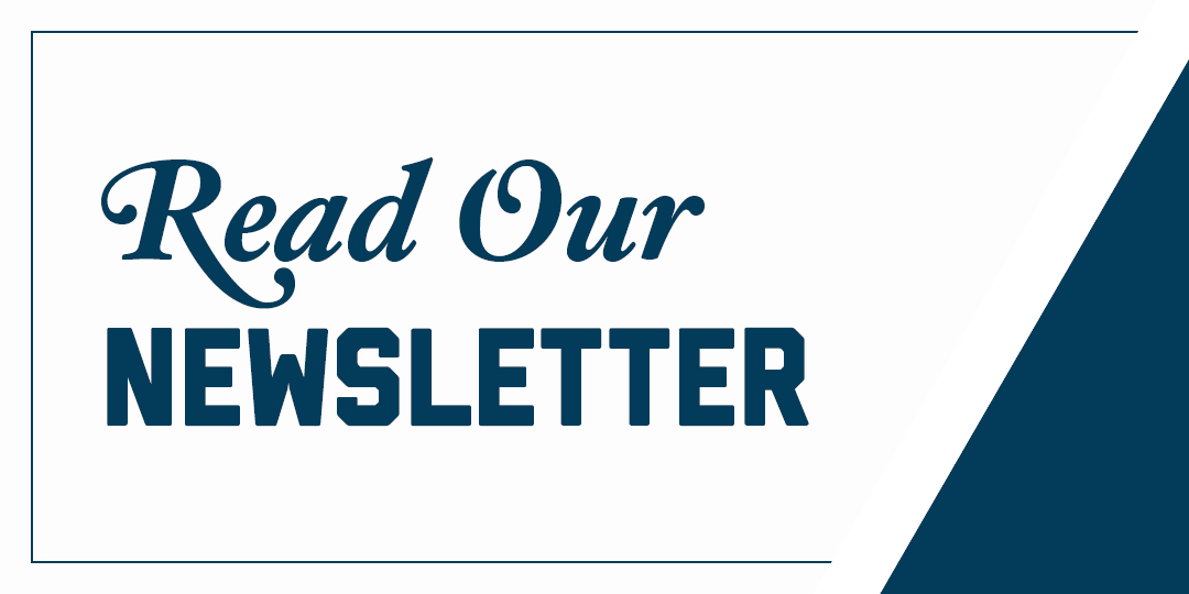"Blue and white graphic that says ""Read Our Newsletter."""